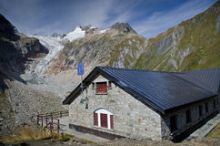 Refuge in the mountains of Mont Blanc. Mont Blanc from the refuge Elena Royalty Free Stock Photos