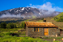 Refuge in the mountains - Mount Etna Stock Image