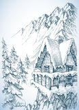 Refuge in the mountains. A winter cabin in the pine forest Royalty Free Stock Photography