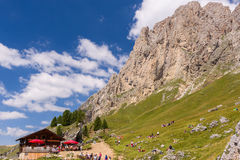 Refuge Pertini under the Langkofel Stock Image