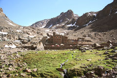 Refuge on the trail to Toubkal. Morocco. Refuge on the trail to Toubkal, the highest mountain of the Northern Africa, Morocco Stock Images