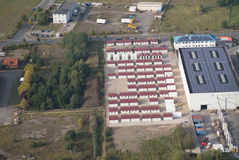 Refugee accommodation in the industrial estate Royalty Free Stock Images