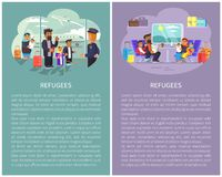 Refugee Banners Collection Vector Illustration. Refugee banners collection, people at airport ready to boarding, family sitting inside of train cabin, luggage on stock illustration