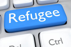 Refugee button. Render illustration of computer keyboard with Royalty Free Stock Images