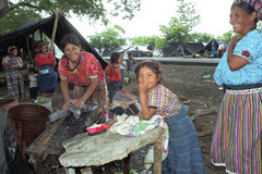 Refugee camp of landless people in Guatemala. Guatemala, Retalhuleu Department: Everyday existence of Indian people driven from their land and illegally storing royalty free stock photo