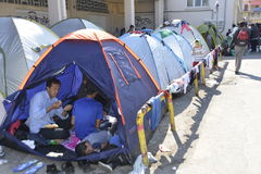 Refugee camp Lesvos Greece stock image
