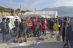 Refugee camp Lesvos Greece royalty free stock photo