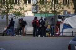 Refugee camp Oranienplatz Stock Photo