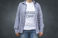 Refugee camp print on t-shirt Royalty Free Stock Photography