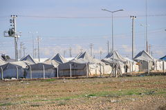 Refugee camp. For syrian people settled in Turkey. In this small camp live 8000 people. Camp is near the turkish-syrian border close to Kobani Stock Photo