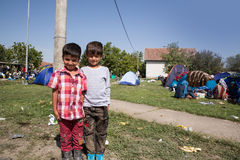 Refugee children close to the border of Serbia in Tovarnik Stock Images