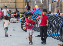 Refugee children at Keleti train station Royalty Free Stock Photography
