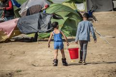 Refugee crisis in Europe royalty free stock photo