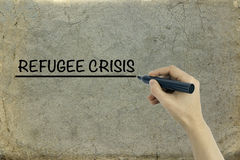 REFUGEE CRISIS on old paper background Royalty Free Stock Photography