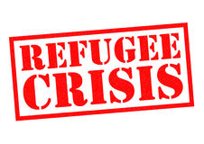 REFUGEE CRISIS. Red Rubber Stamp over a white background royalty free illustration