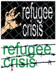 Refugee crisis sign Stock Photo