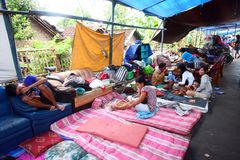 Refugee Flood. Some people were in refugee camps due to flooding that inundated their homes in Solo, Central Java, Indonesia Royalty Free Stock Photography