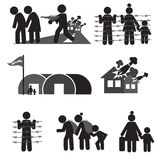 Refugee Icon Set. Stock Photography