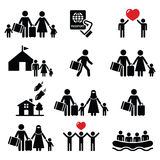 Refugee, immigrants, families running away from their countries icons set Stock Photography