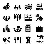 Refugee, immigrants, immigration icons set. Vector illustration vector illustration