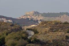 Refugee journey Molyvos village Lesvos Greece royalty free stock photos