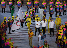 Refugee Olympic Team Walk Into  Rio 2016 Olympics Opening Ceremony As They March Under The Olympic Flag Stock Photography