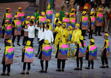 Refugee Olympic Team Walk Into  Rio 2016 Olympics Opening Ceremony As They March Under The Olympic Flag Royalty Free Stock Image