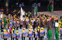 Refugee Olympic Team Walk Into  Rio 2016 Olympics Opening Ceremony As They March Under The Olympic Flag Stock Photos