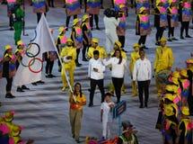 Refugee Olympic Team Walk Into  Rio 2016 Olympics Opening Ceremony Stock Photos