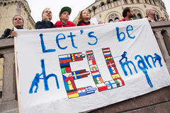 Refugee rights rally Royalty Free Stock Photos