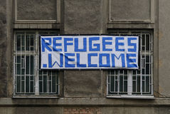 Refugee shelter. Helpful homeowners in Germany mark their house from the outside as a refugee accommodation Royalty Free Stock Photos