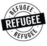 Refugee stamp on white. Background . Sign, label sticker stock illustration