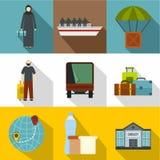 Refugee status icons set, flat style Royalty Free Stock Photography
