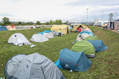 Refugee tents on border Royalty Free Stock Photography