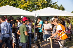 Refugees access basic supplies in Tovarnik Stock Images