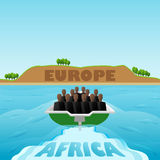 Refugees from Africa to Europe. Royalty Free Stock Photo