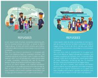 Refugees Airport and Ship Vector Illustration. Refugees airport and ships waiting for people transportation water transports, migrants shipment, posters with stock illustration