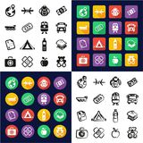 Refugees All in One Icons Black & White Color Flat Design Freehand Set Royalty Free Stock Photo