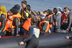 Refugees arriving at Lesvos royalty free stock photos