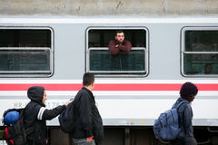 Refugees arriving to Coatia Stock Photography
