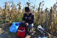 Refugees in Babska (Serbian - Croatina border) Stock Photography
