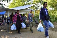 Refugees in Babska (Serbian - Croatina border) Royalty Free Stock Images