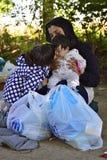 Refugees in Babska (Serbian - Croatina border) Stock Photo
