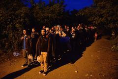 Refugees in Babska (Serbian - Croatina border) Stock Images