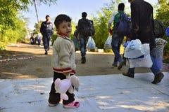 Refugees in Babska (Serbian - Croatina border) Stock Image