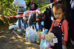 Refugees in Babska (Serbian - Croatina border). Group of refugees leaving Serbia. They came to Bapska by buses and then they leaving Serbia and go to Croatia and Royalty Free Stock Photography