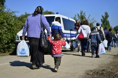 Refugees in Babska (Serbian - Croatina border) Royalty Free Stock Photos
