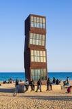 Refugees on Barceloneta beach stock images