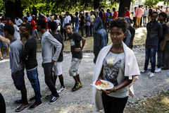 Refugees blocked in Como near the Swiss border Royalty Free Stock Photo
