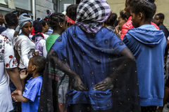 Refugees blocked in Como near the Swiss border Stock Images